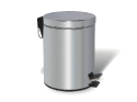 Chrome Dustbin – 12 liters, round, mirror polished with foot ped