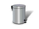 Chrome Dustbin – 3 liters, round, mirror polished with foot peda