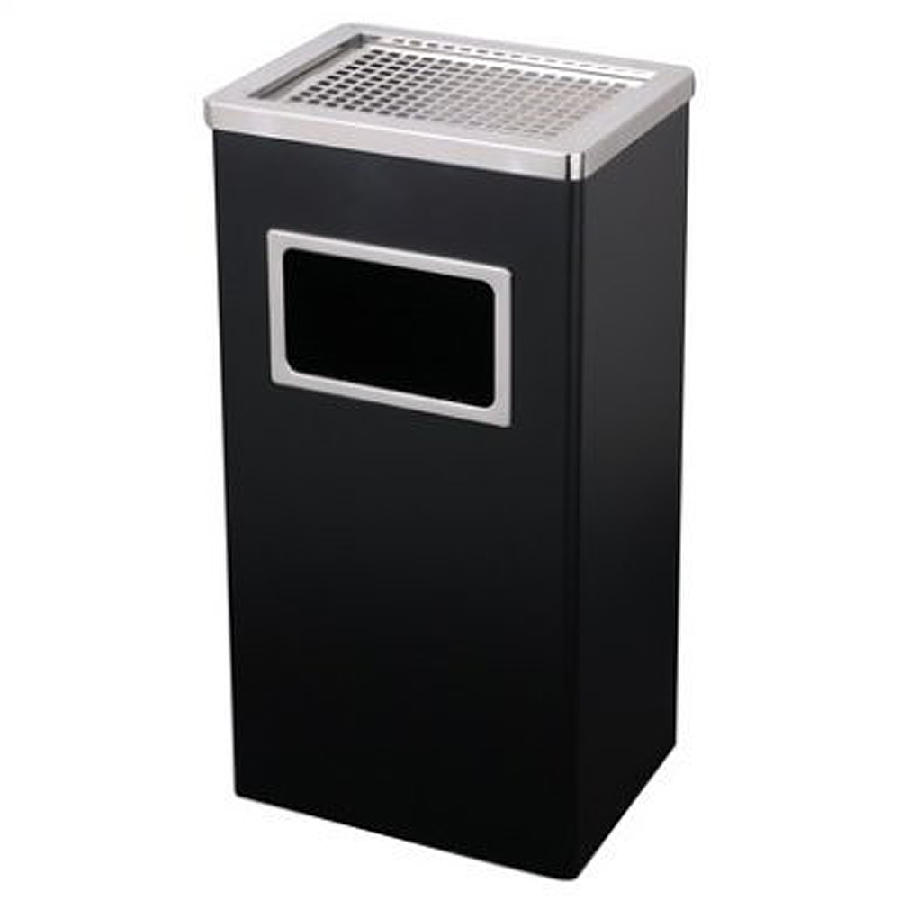 Metal ashtray – dustbin type 60 cm. BLACK, rectangular