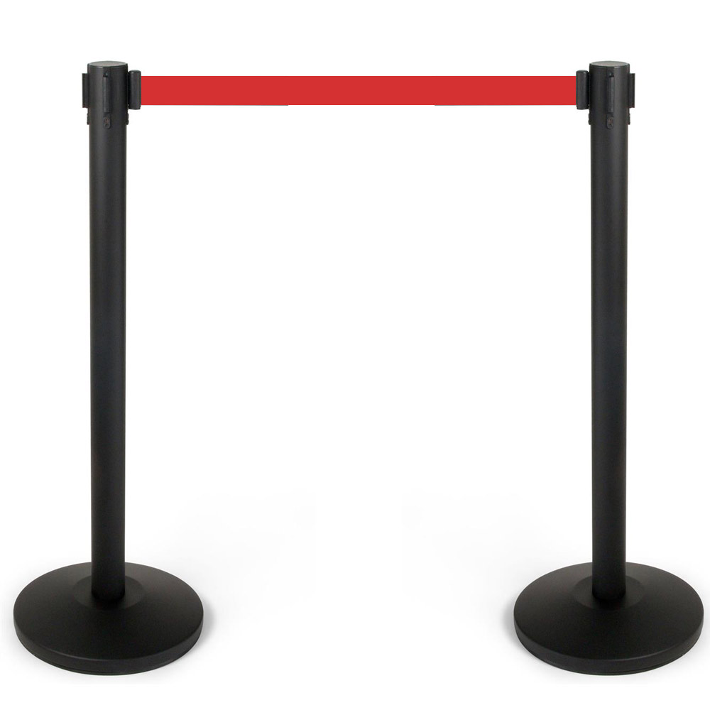 Crowd control barrier black with red retractable belt