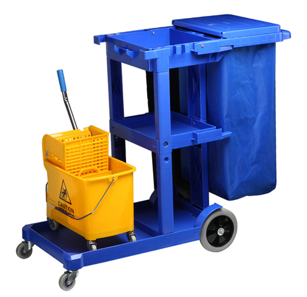 Multifunctional cleaning cart with 1 bucket - 20 liters, and a p