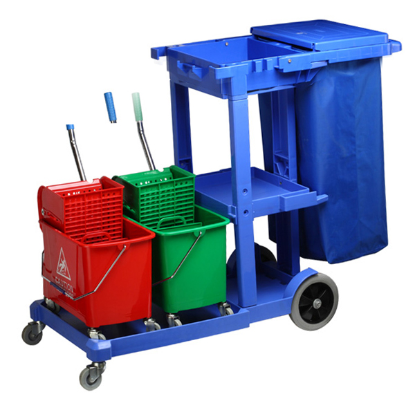 Multifunctional cleaning cart with 2 buckets X 20 liters, and 2