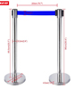 Crowd control barrier chrome with blue retractable belt