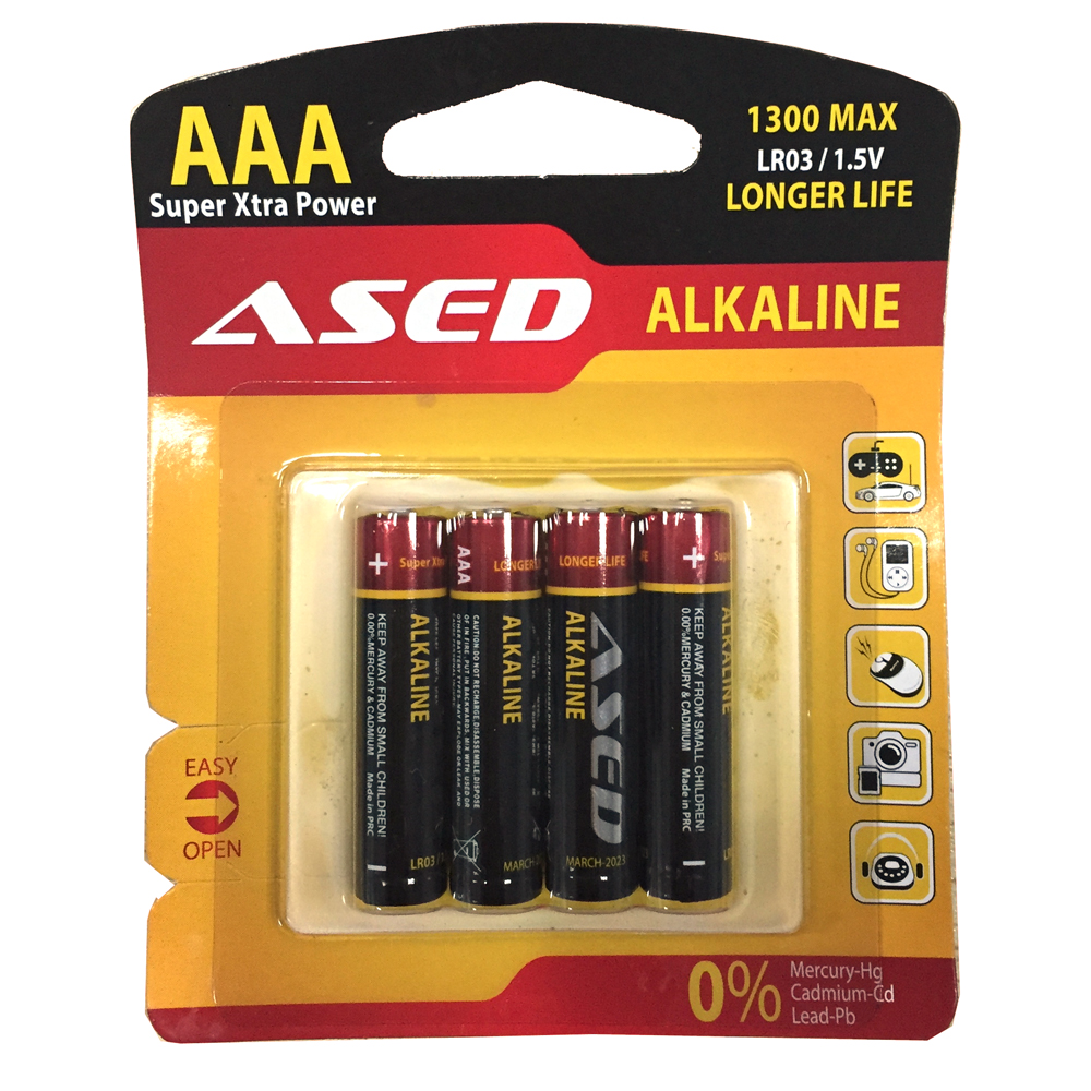 Battery ASED LR03/AAA, Alkaline, 1.5V, 4 pcs. blister