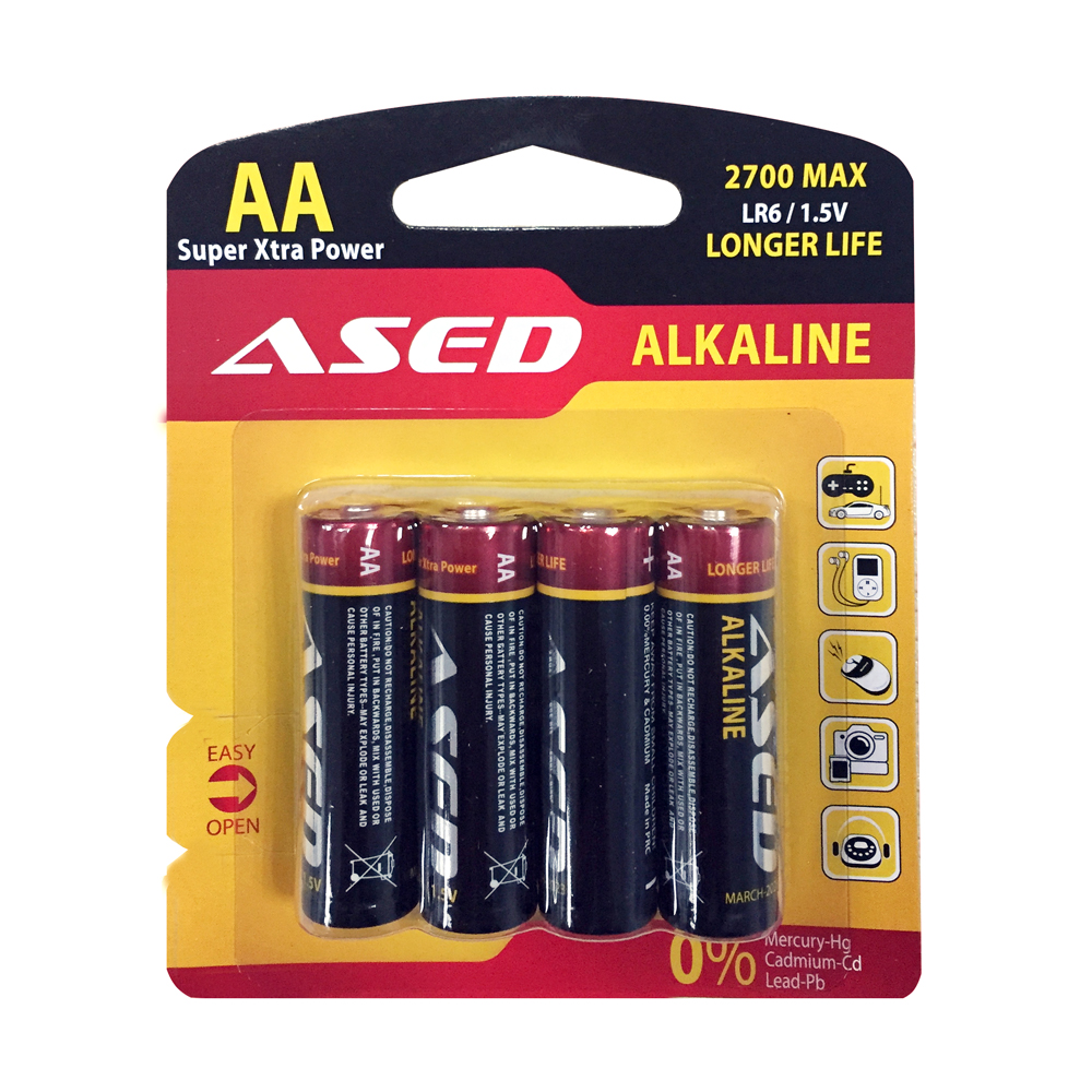 Battery ASED LR6/AA, Alkaline, 1.5V, 4 pcs. blister