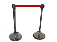 Crowd control barrier chrome with red retractable belt