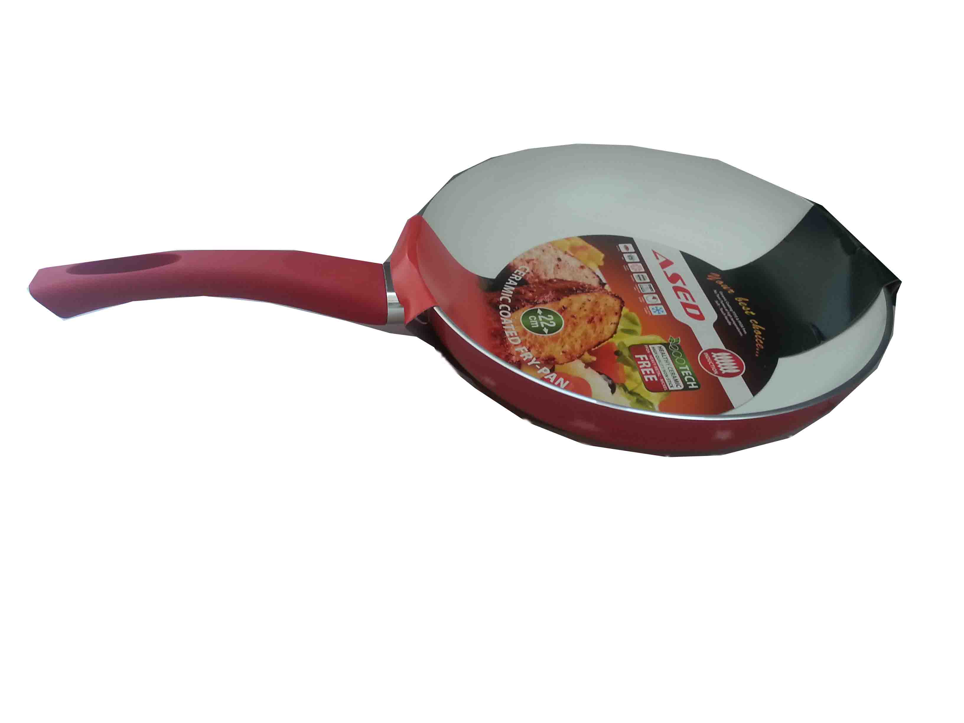 Frying pan with ceramic coating – 22x4,5 cm., red, with inductio