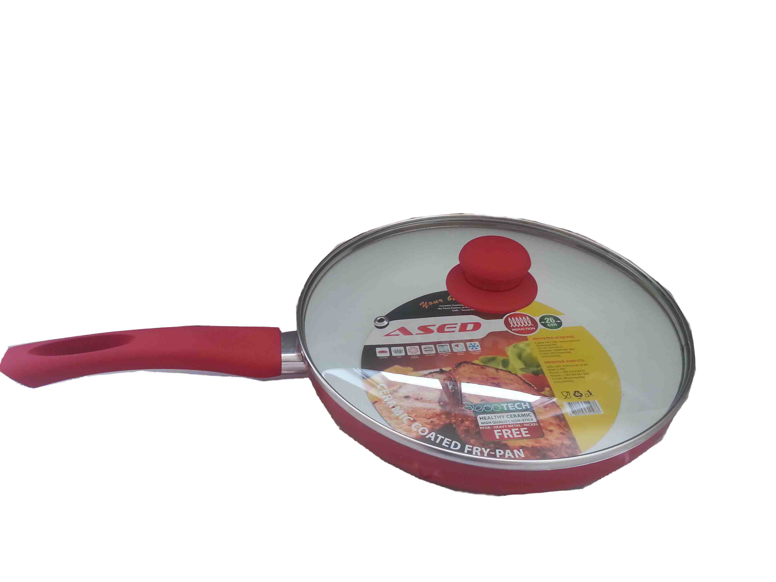 Frying pan with ceramic coating – 26x5 cm., red, with induction