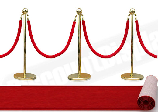 Crowd control barrier gold inox with red rope